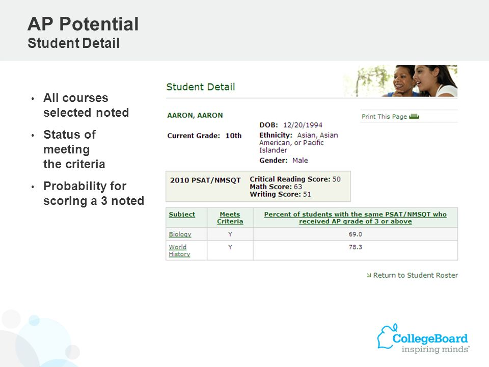 All courses selected noted Status of meeting the criteria Probability for scoring a 3 noted AP Potential Student Detail