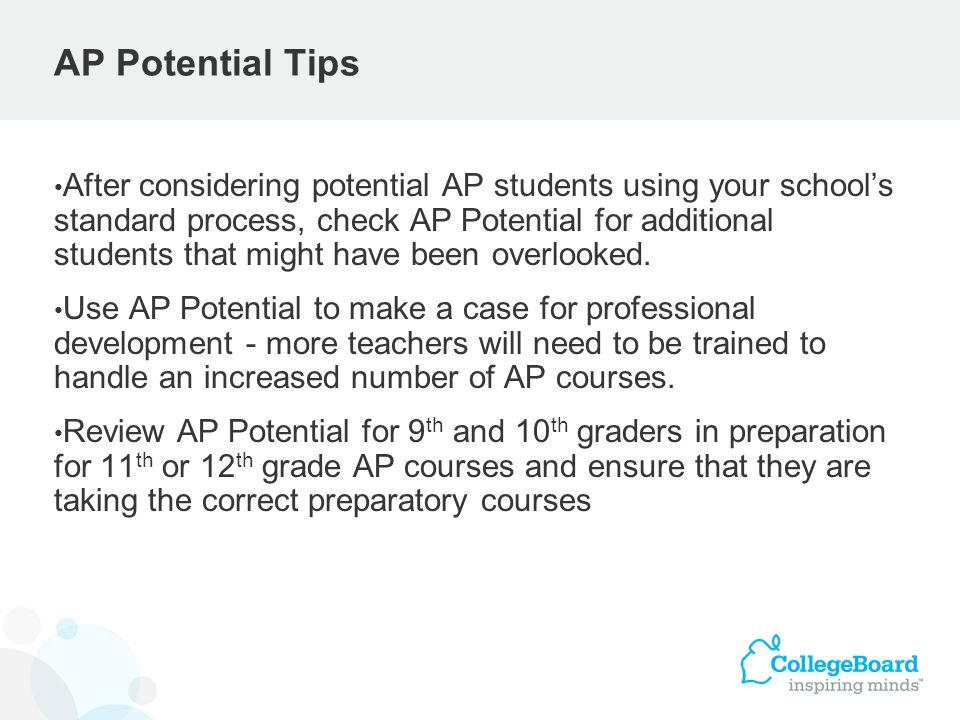 After considering potential AP students using your schools standard process, check AP Potential for additional students that might have been overlooke