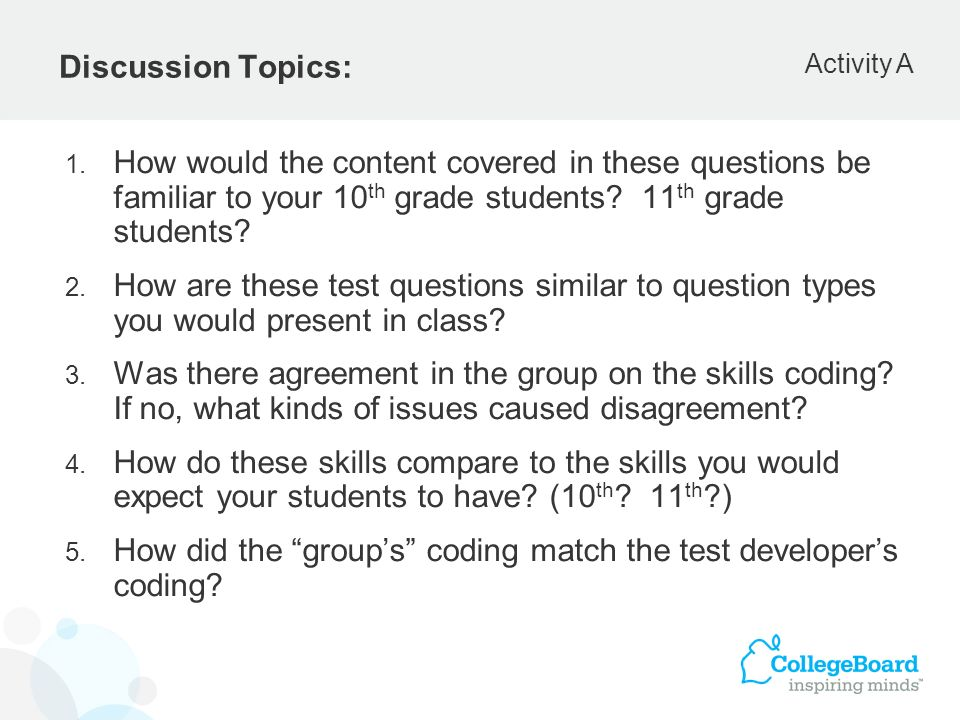 Discussion Topics: 1. How would the content covered in these questions be familiar to your 10 th grade students? 11 th grade students? 2. How are thes
