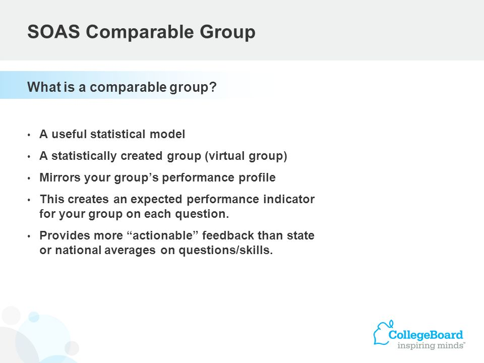 What is a comparable group? A useful statistical model A statistically created group (virtual group) Mirrors your groups performance profile This crea