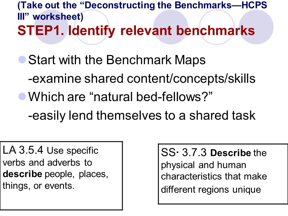 (Take out the Deconstructing the BenchmarksHCPS III worksheet) STEP1.
