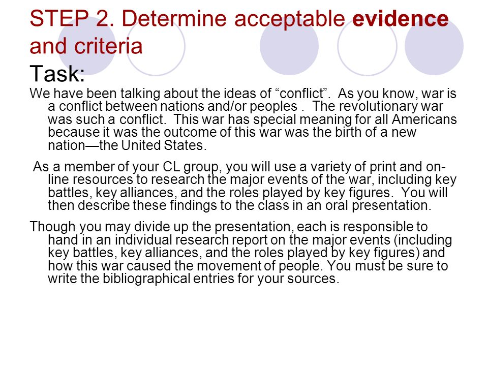 STEP 2. Determine acceptable evidence and criteria Task: We have been talking about the ideas of conflict. As you know, war is a conflict between nati