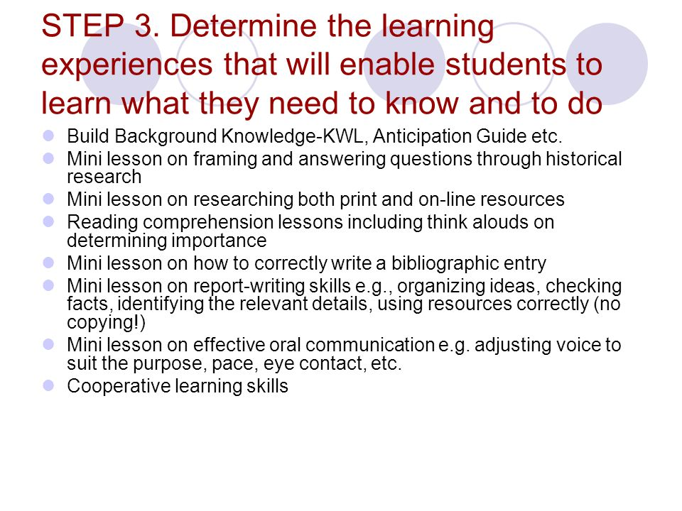 STEP 3. Determine the learning experiences that will enable students to learn what they need to know and to do Build Background Knowledge-KWL, Anticip