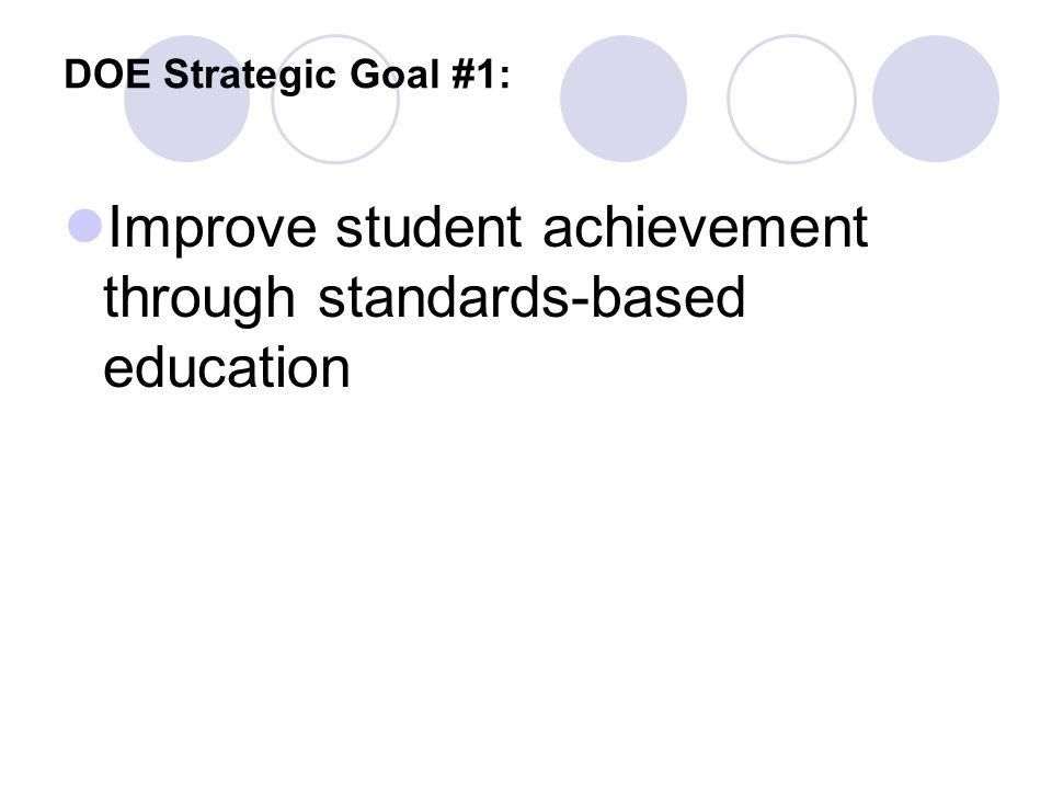 DOE Strategic Goal #1: Improve student achievement through standards-based education