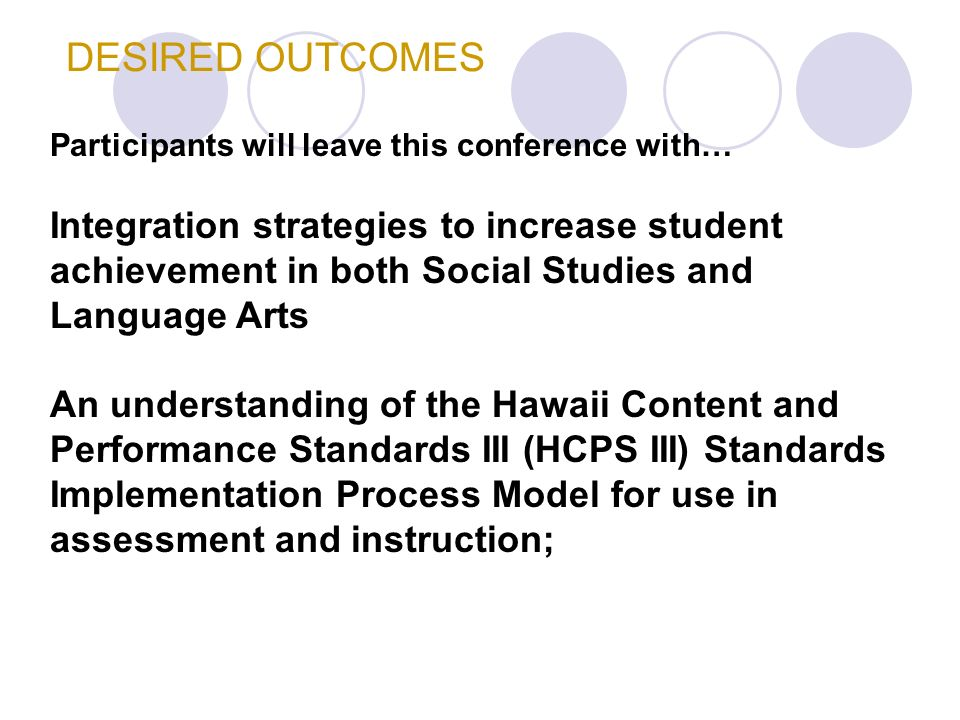 DESIRED OUTCOMES Participants will leave this conference with… Integration strategies to increase student achievement in both Social Studies and Language Arts An understanding of the Hawaii Content and Performance Standards III (HCPS III) Standards Implementation Process Model for use in assessment and instruction;