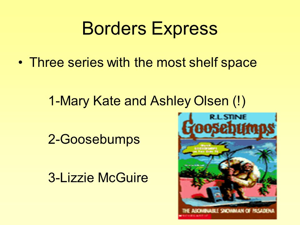 Borders Express Three series with the most shelf space 1-Mary Kate and Ashley Olsen (!) 2-Goosebumps 3-Lizzie McGuire