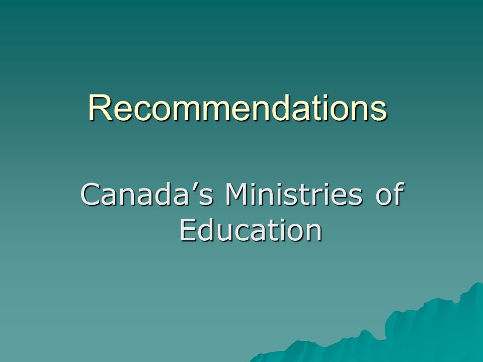 Recommendations Canadas Ministries of Education