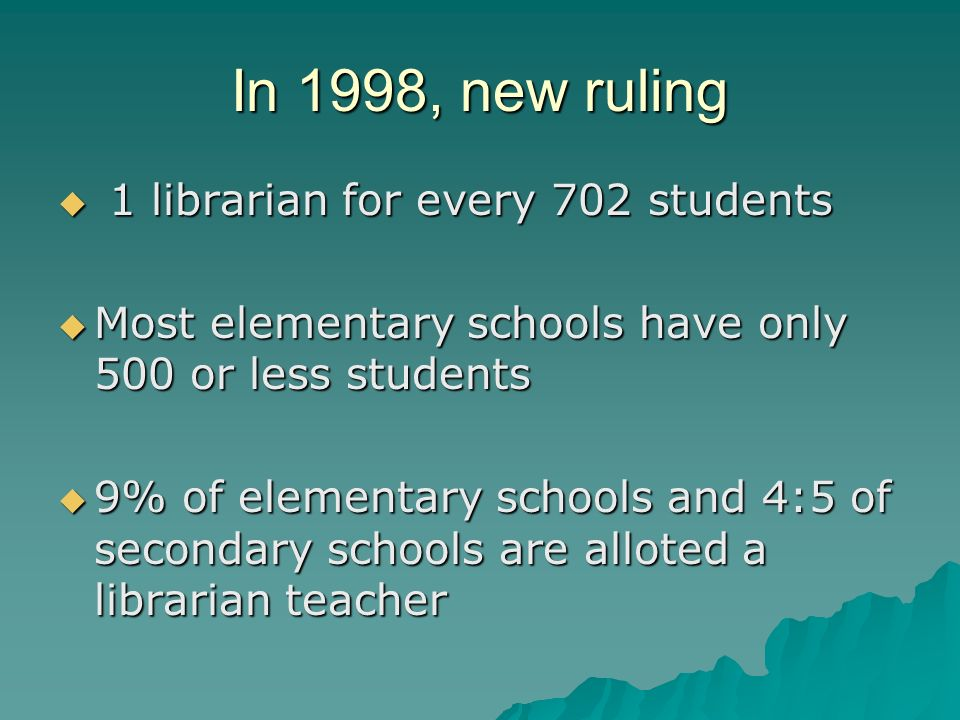 In 1998, new ruling 1 librarian for every 702 students 1 librarian for every 702 students Most elementary schools have only 500 or less students Most