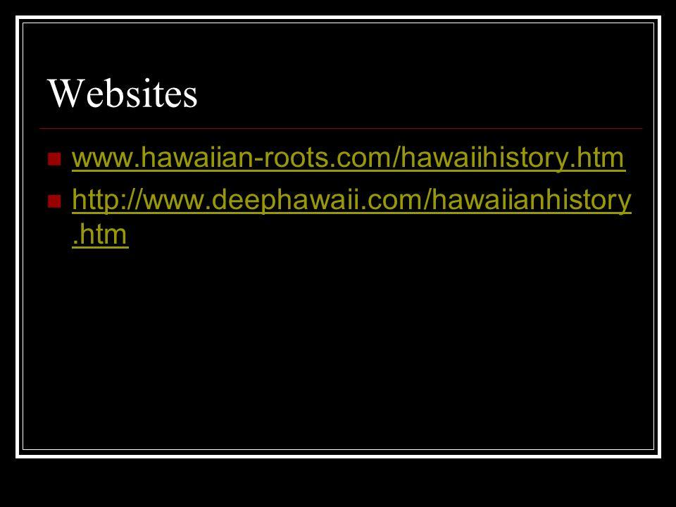 Websites www.hawaiian-roots.com/hawaiihistory.htm http://www.deephawaii.com/hawaiianhistory.htm http://www.deephawaii.com/hawaiianhistory.htm