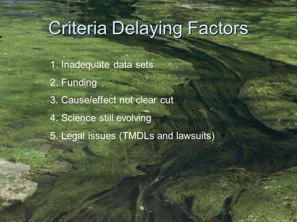 Criteria Delaying Factors 1.Inadequate data sets 2.Funding 3.Cause/effect not clear cut 4.Science still evolving 5.Legal issues (TMDLs and lawsuits)