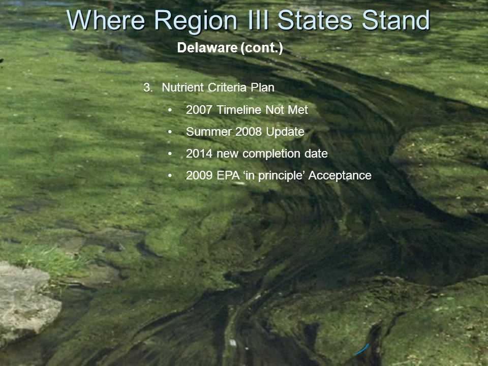 Where Region III States Stand Delaware (cont.) 3.Nutrient Criteria Plan 2007 Timeline Not Met Summer 2008 Update 2014 new completion date 2009 EPA in