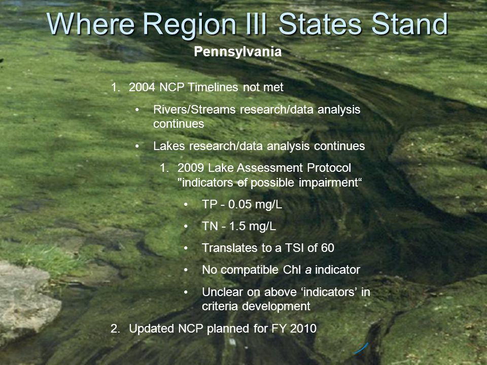 Where Region III States Stand Pennsylvania 1.2004 NCP Timelines not met Rivers/Streams research/data analysis continues Lakes research/data analysis c