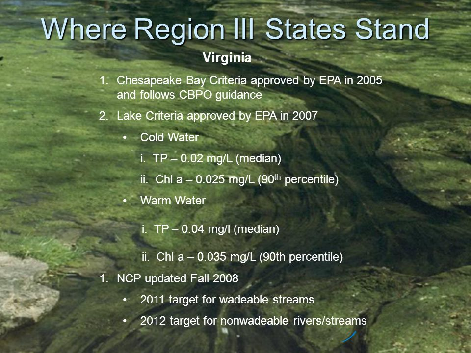 Where Region III States Stand Virginia 1.Chesapeake Bay Criteria approved by EPA in 2005 and follows CBPO guidance 2.Lake Criteria approved by EPA in 2007 Cold Water i.
