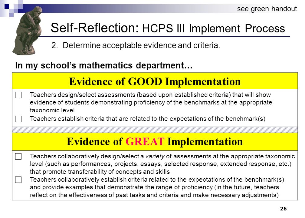 25 Self-Reflection: HCPS III Implement Process 2. Determine acceptable evidence and criteria.