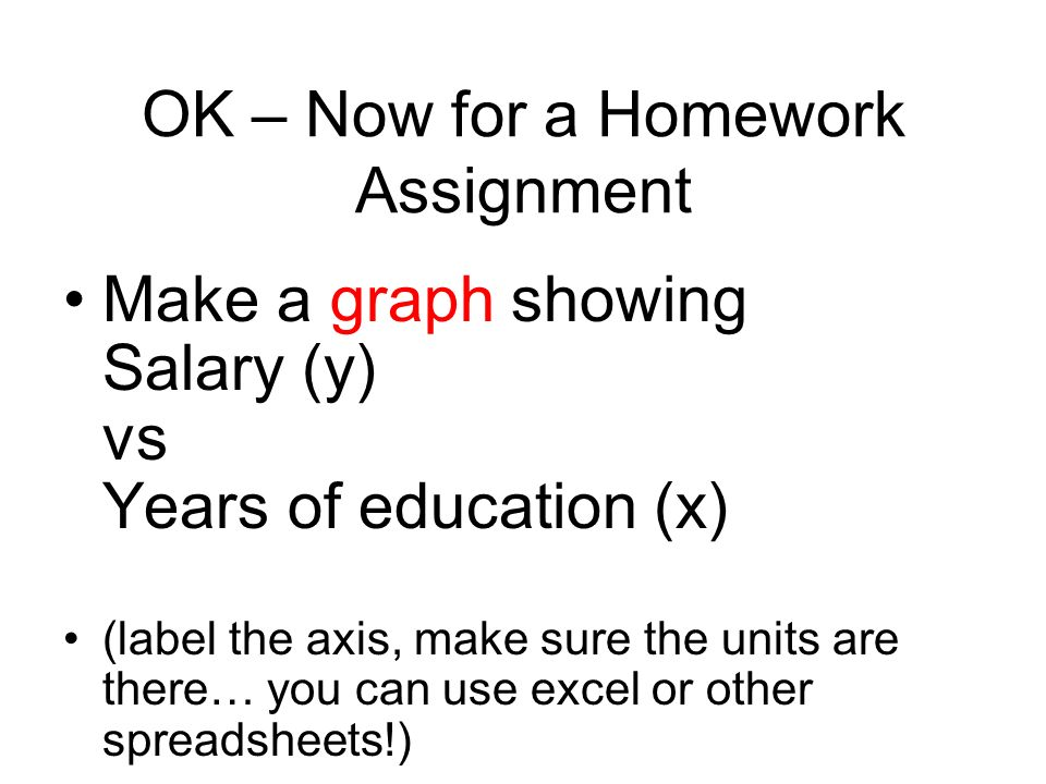 OK – Now for a Homework Assignment Make a graph showing Salary (y) vs Years of education (x) (label the axis, make sure the units are there… you can use excel or other spreadsheets!)