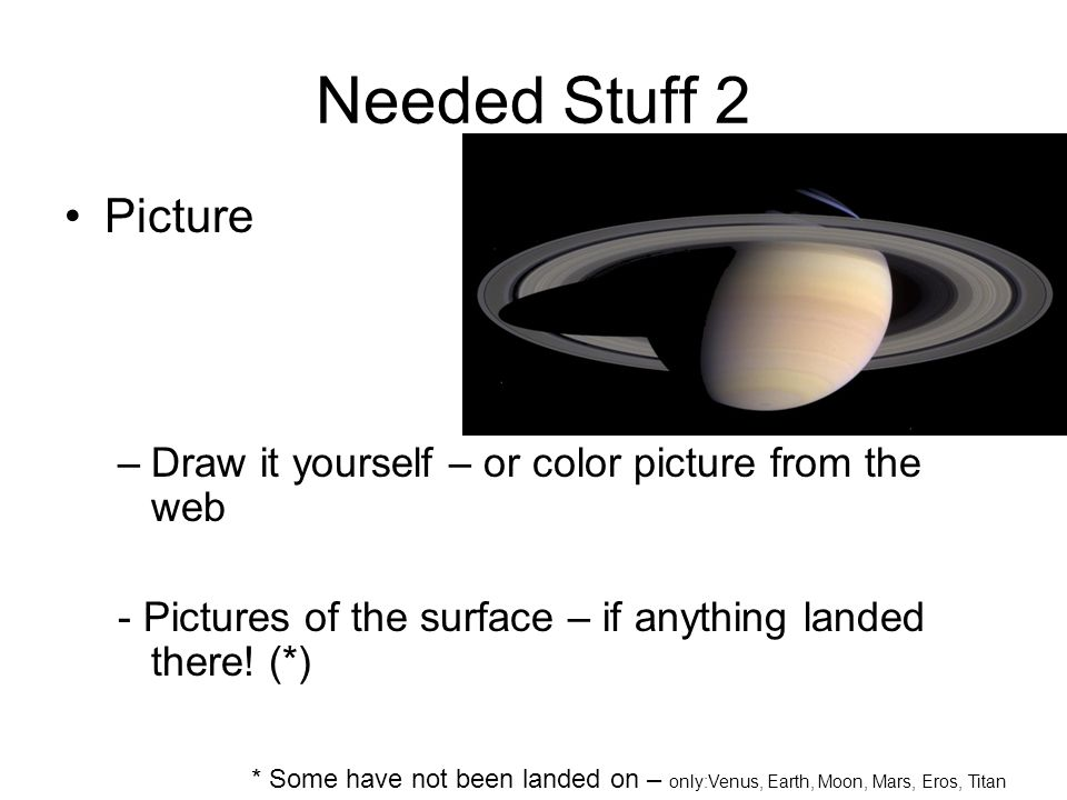 Needed Stuff 2 Picture –Draw it yourself – or color picture from the web - Pictures of the surface – if anything landed there.