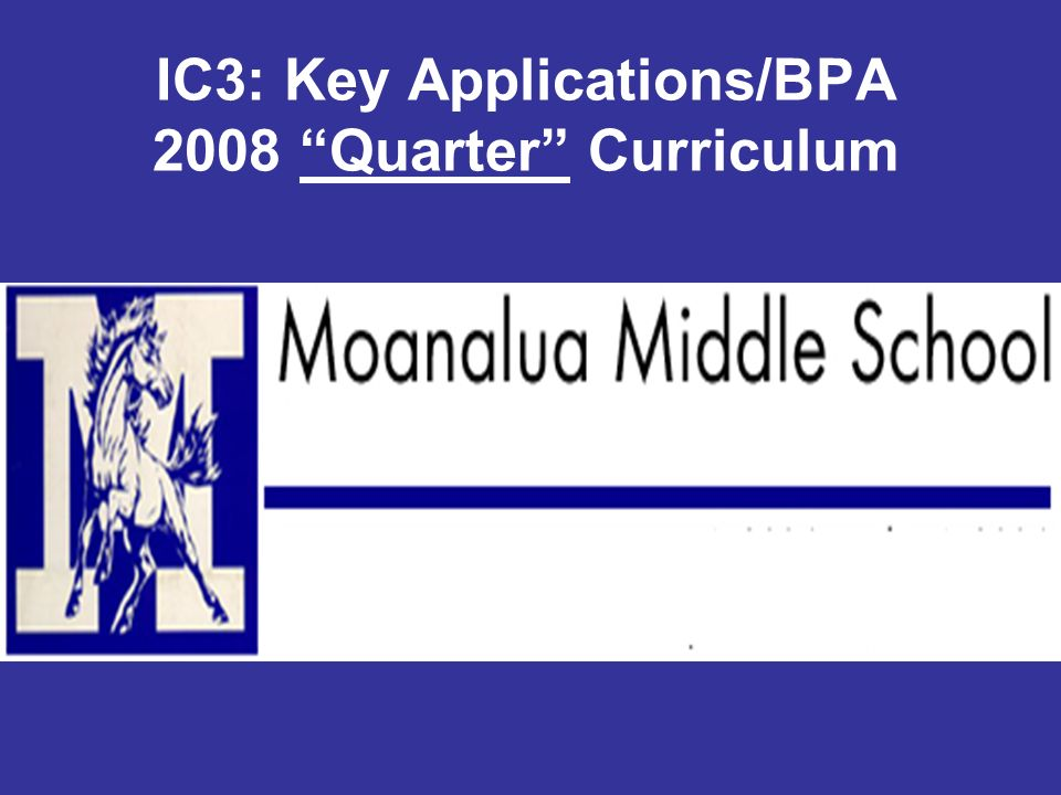 IC3: Key Applications/BPA 2008 Quarter Curriculum