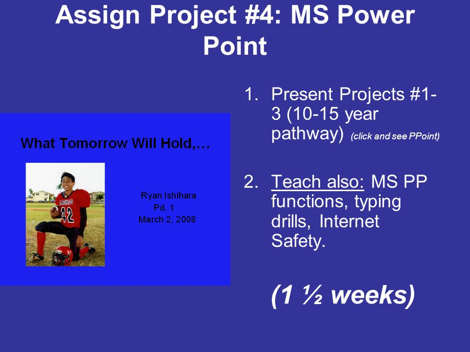 Assign Project #4: MS Power Point 1.Present Projects #1- 3 (10-15 year pathway) (click and see PPoint) 2.Teach also: MS PP functions, typing drills, Internet Safety.