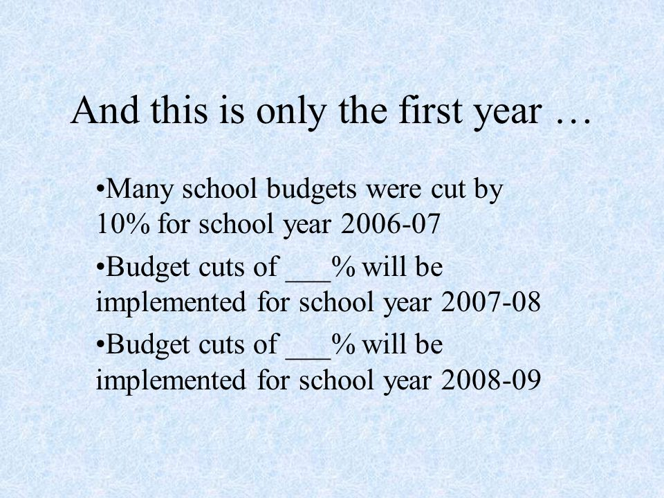 And this is only the first year … Many school budgets were cut by 10% for school year Budget cuts of ___% will be implemented for school year Budget cuts of ___% will be implemented for school year
