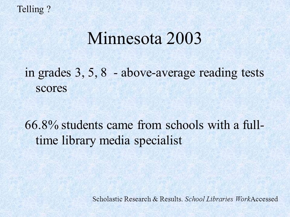 Minnesota 2003 in grades 3, 5, 8 - above-average reading tests scores 66.8% students came from schools with a full- time library media specialist Telling .