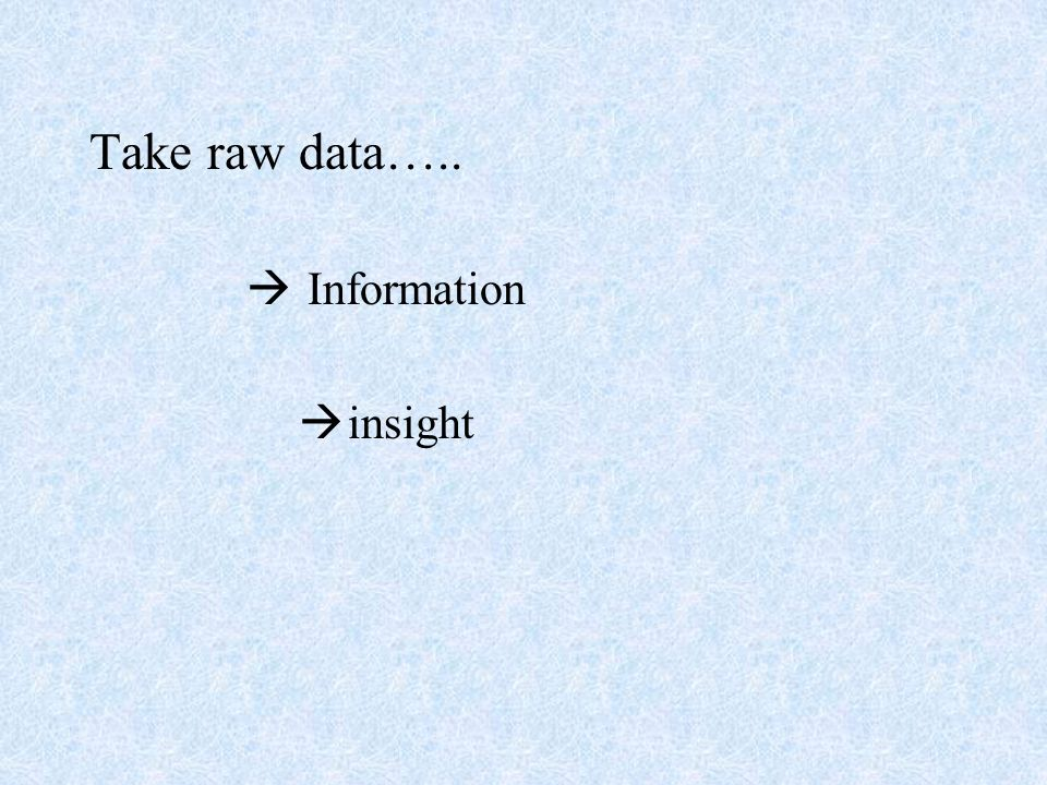 Take raw data….. Information insight