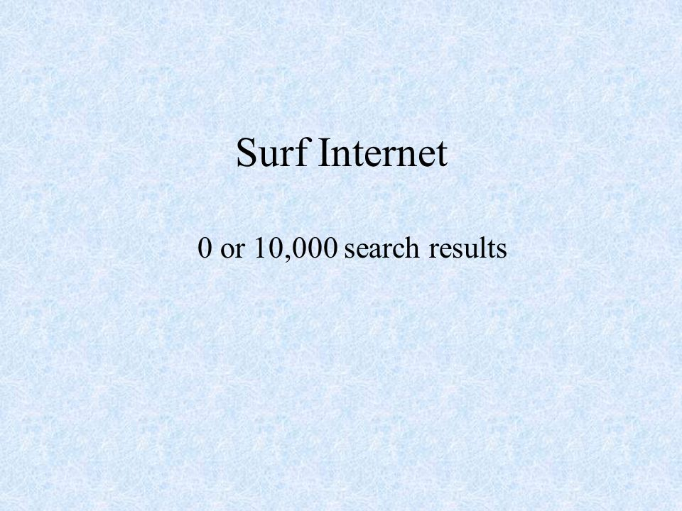 Surf Internet 0 or 10,000 search results