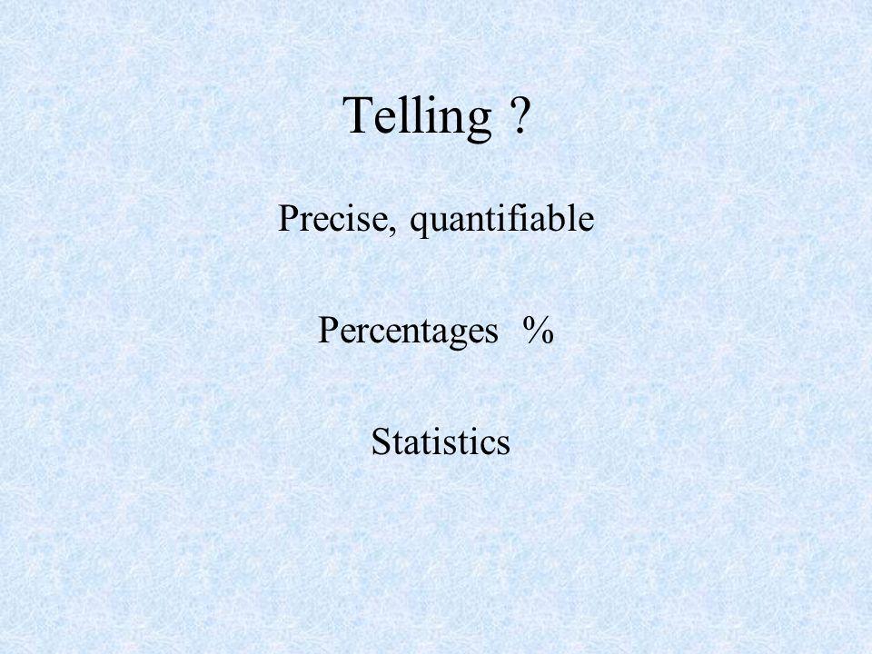 Telling ? Precise, quantifiable Percentages % Statistics