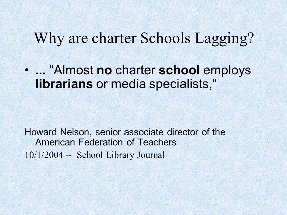 Why are charter Schools Lagging ...