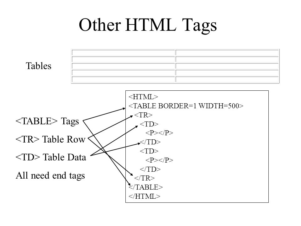 Other HTML Tags Tags Table Row Table Data All need end tags Tables