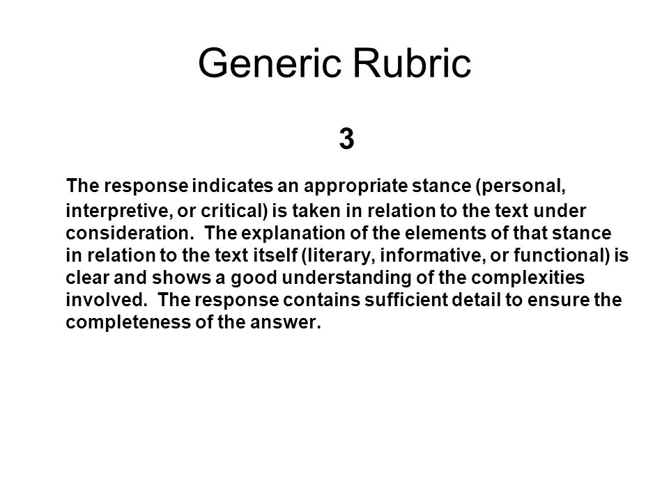 NEW RUBRICS (HSA) From generic to item specific Why– greater inter-rater reliability in a large scale assessment