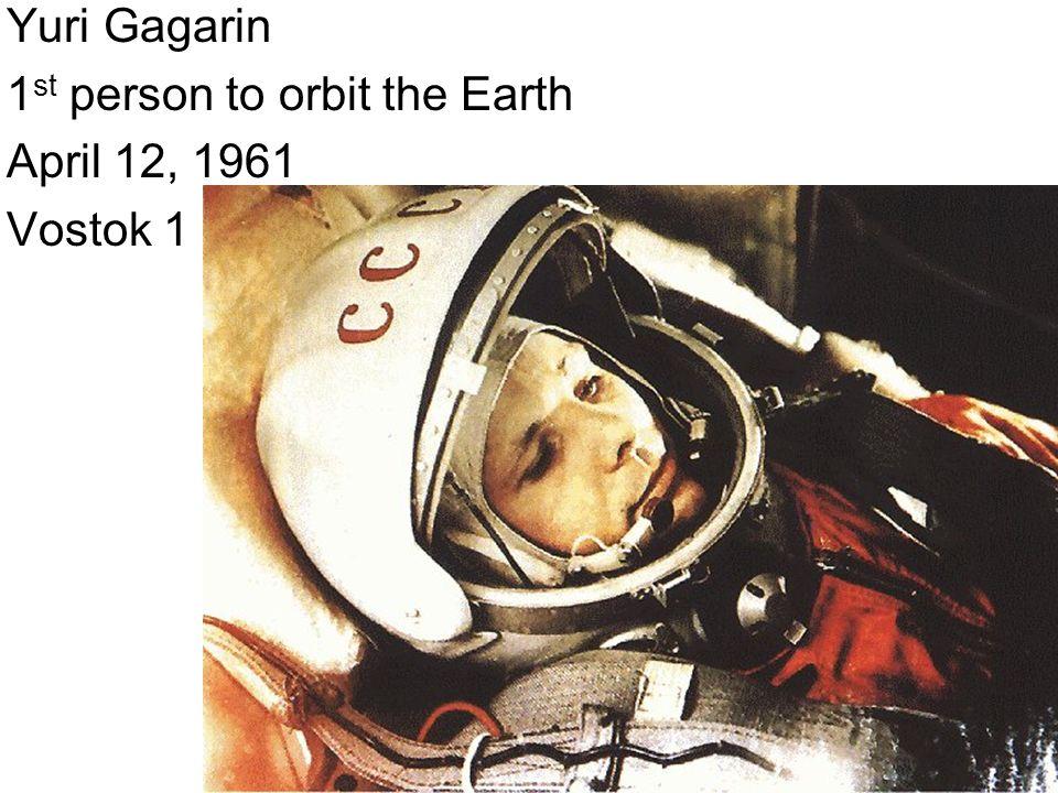 Yuri Gagarin 1 st person to orbit the Earth April 12, 1961 Vostok 1