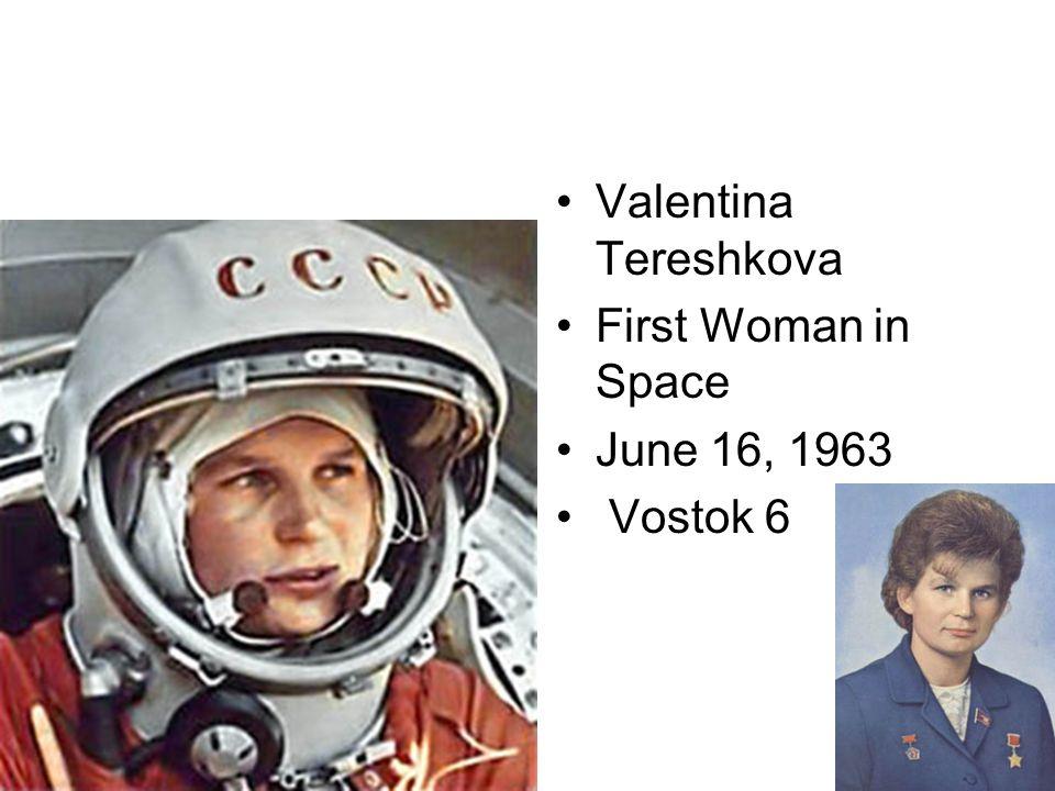 Valentina Tereshkova First Woman in Space June 16, 1963 Vostok 6