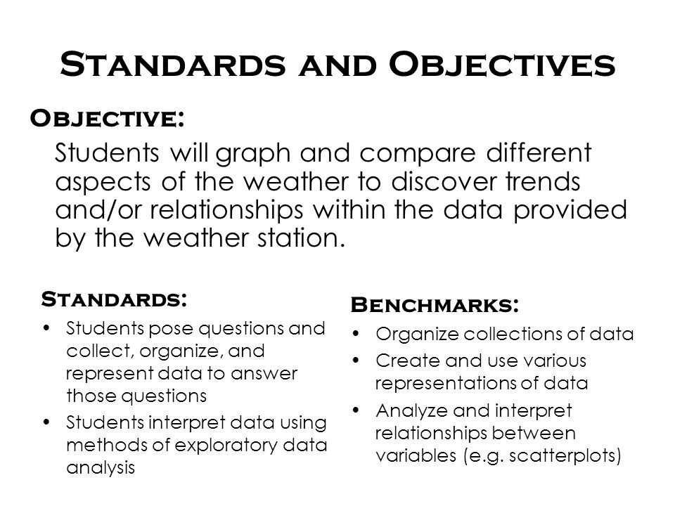 Standards and Objectives Standards: Students pose questions and collect, organize, and represent data to answer those questions Students interpret dat