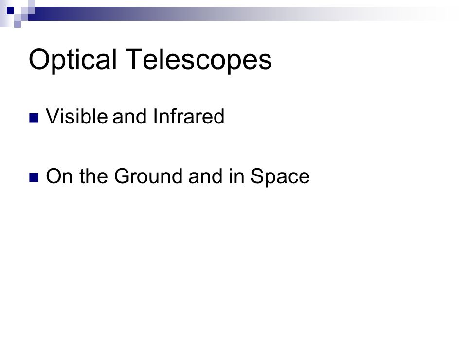 Optical Telescopes Visible and Infrared On the Ground and in Space