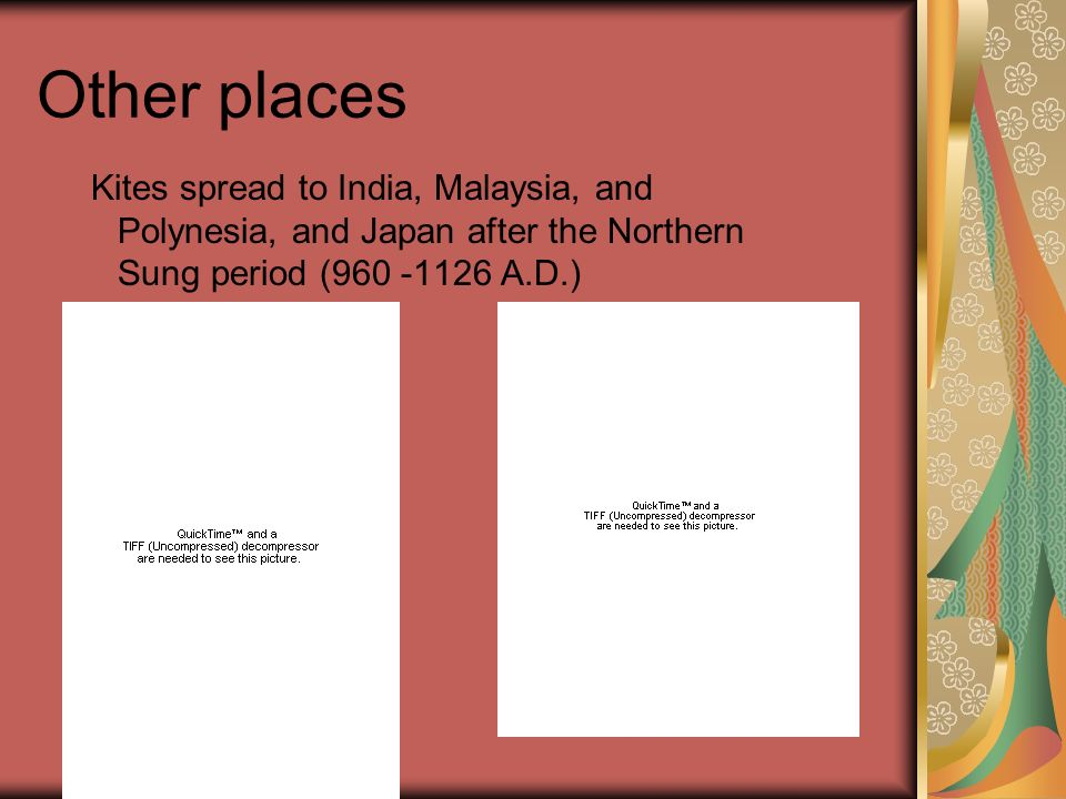 Other places Kites spread to India, Malaysia, and Polynesia, and Japan after the Northern Sung period (960 -1126 A.D.)