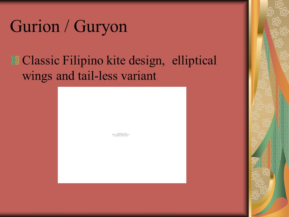 Gurion / Guryon Classic Filipino kite design, elliptical wings and tail-less variant