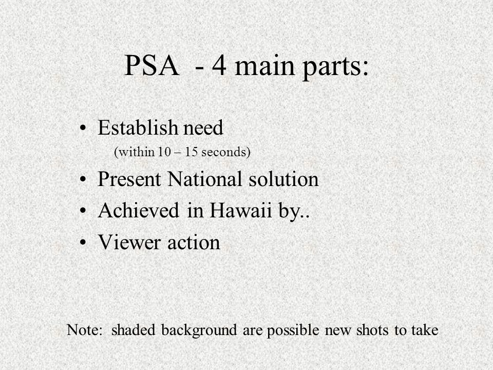 PSA - 4 main parts: Establish need (within 10 – 15 seconds) Present National solution Achieved in Hawaii by..