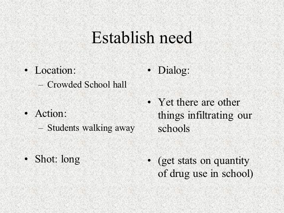 Establish need Location: –Various points around school / classroom Action: Shot: Dialog: Get stats on how drugs effect students in school –Absent rate –Suspensions –Arrests –Fights –Failing grades