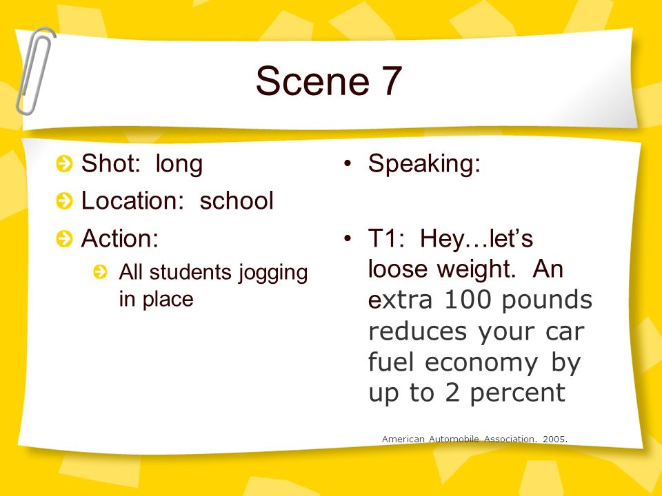 Scene 7 Shot: long Location: school Action: All students jogging in place Speaking: T1: Hey…lets loose weight.