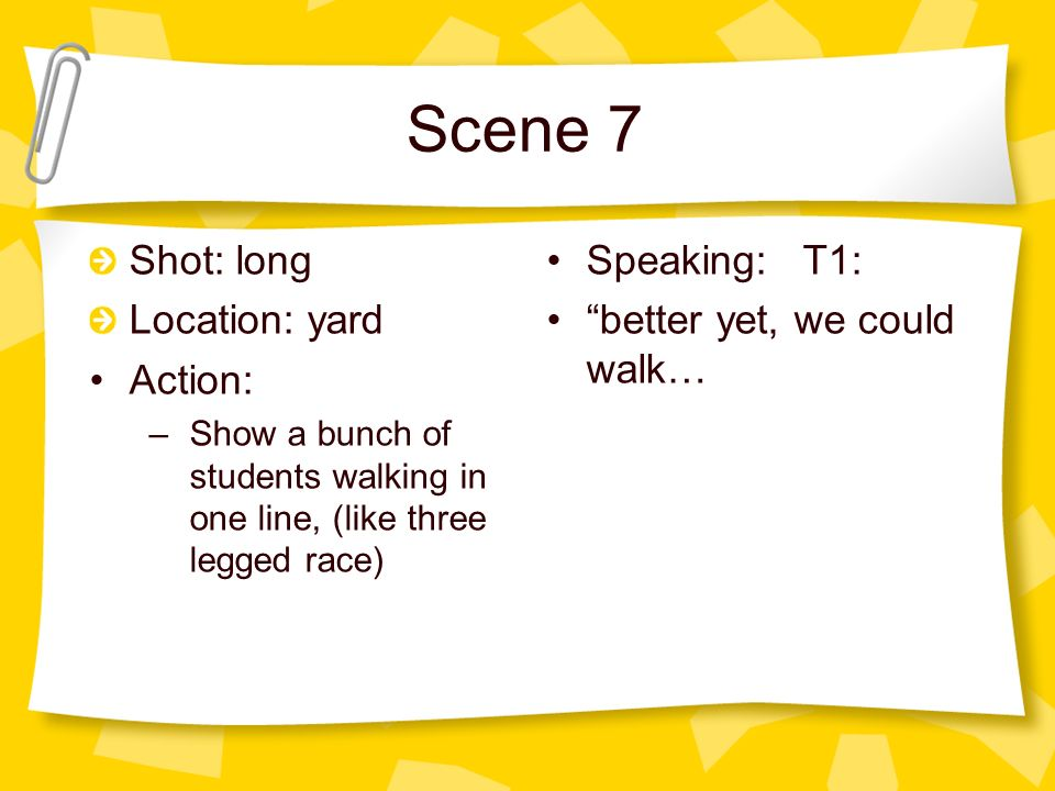 Scene 7 Shot: long Location: yard Action: –Show a bunch of students walking in one line, (like three legged race) Speaking: T1: better yet, we could walk…
