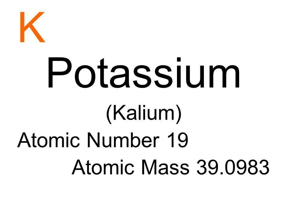 Vanadium Atomic Number 19 Atomic Mass 39 0983