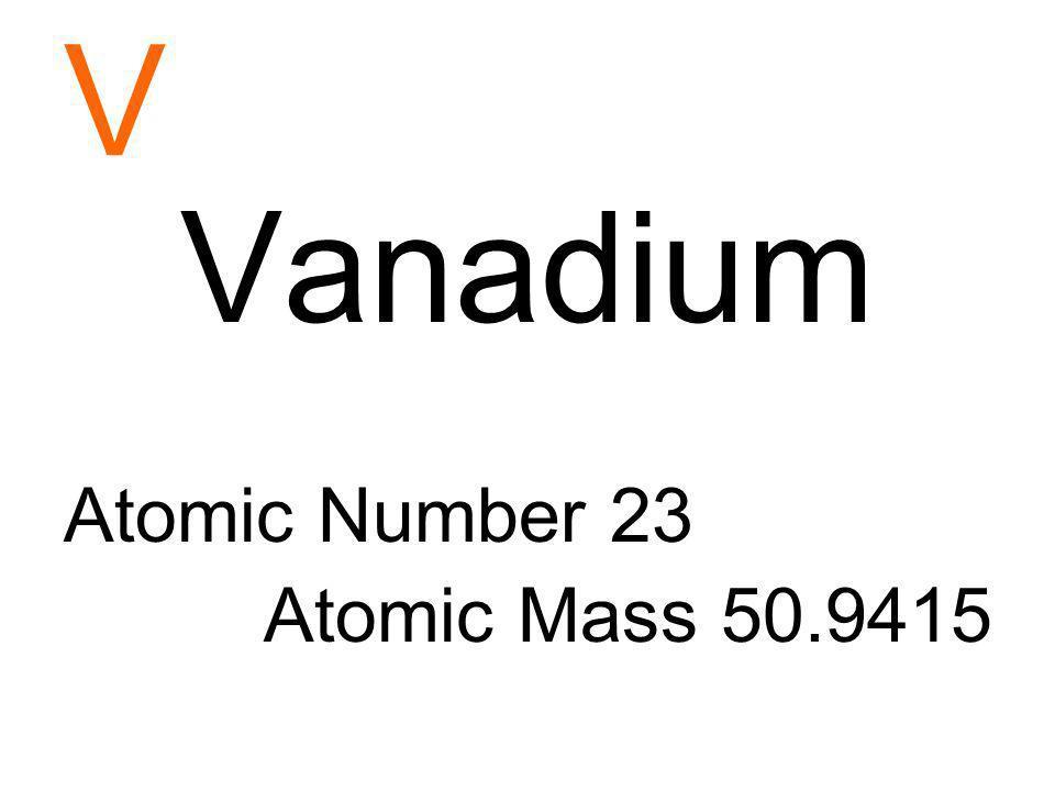 Vanadium Atomic Number V Vanadium Atomic Number 23