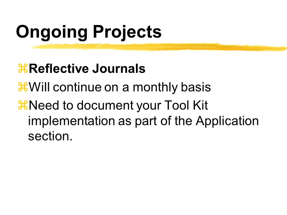 Ongoing Projects zReflective Journals zWill continue on a monthly basis zNeed to document your Tool Kit implementation as part of the Application section.