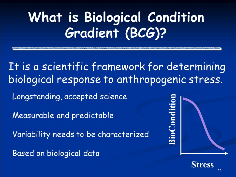 11 What is Biological Condition Gradient (BCG).