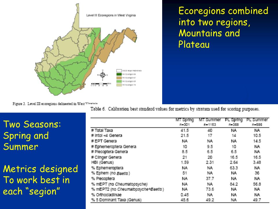 20 Ecoregions combined into two regions, Mountains and Plateau Two Seasons: Spring and Summer Metrics designed To work best in each segion