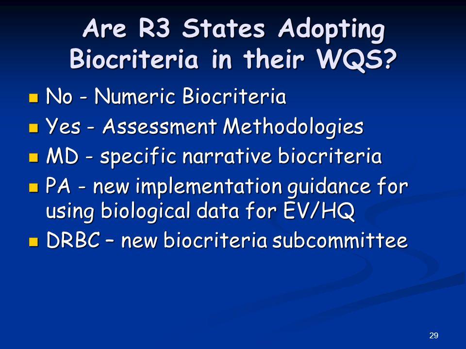 29 Are R3 States Adopting Biocriteria in their WQS.
