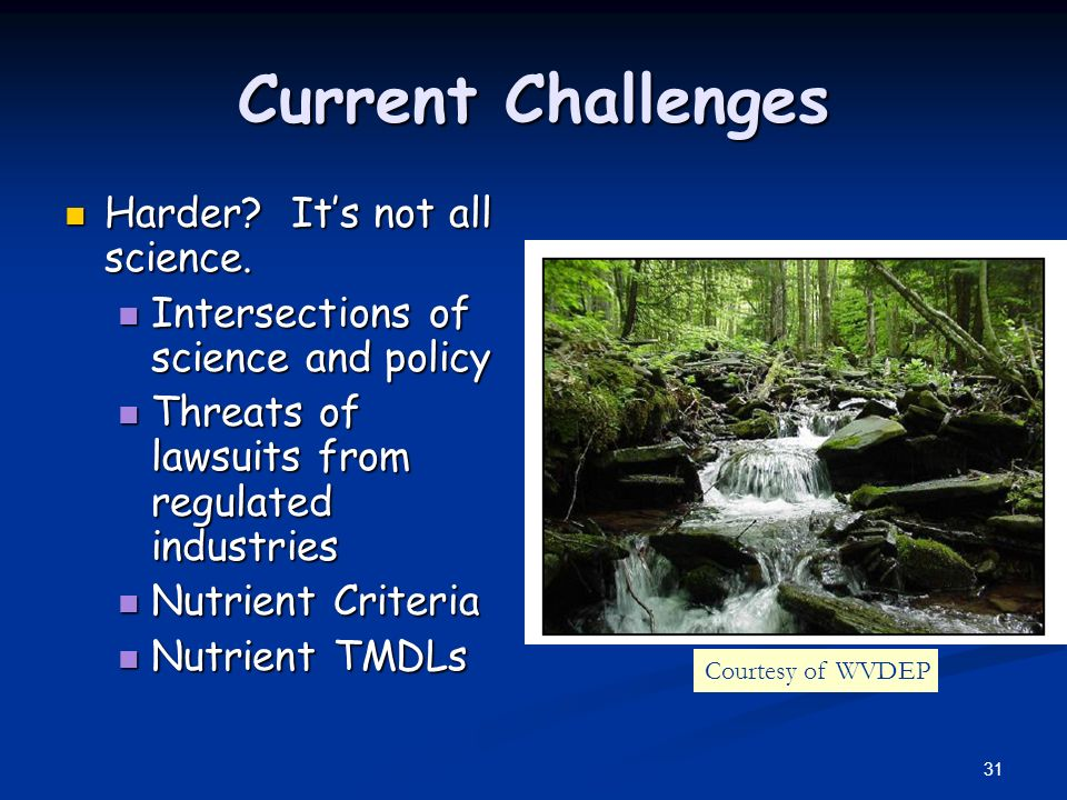 31 Current Challenges Harder? Its not all science. Harder? Its not all science. Intersections of science and policy Intersections of science and polic