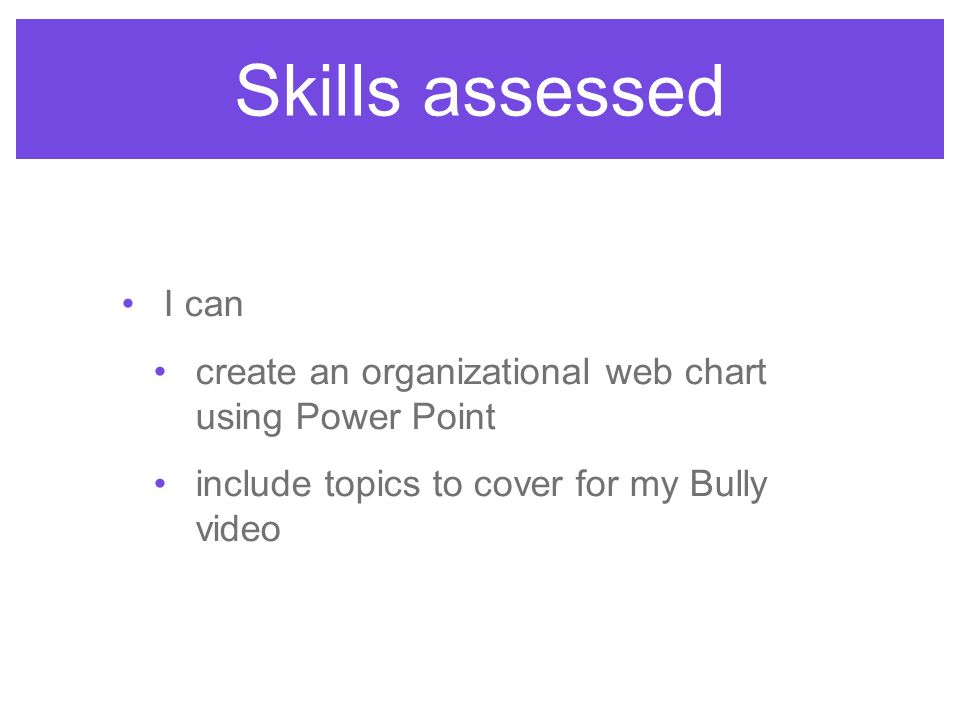 I can create an organizational web chart using Power Point include topics to cover for my Bully video Skills assessed