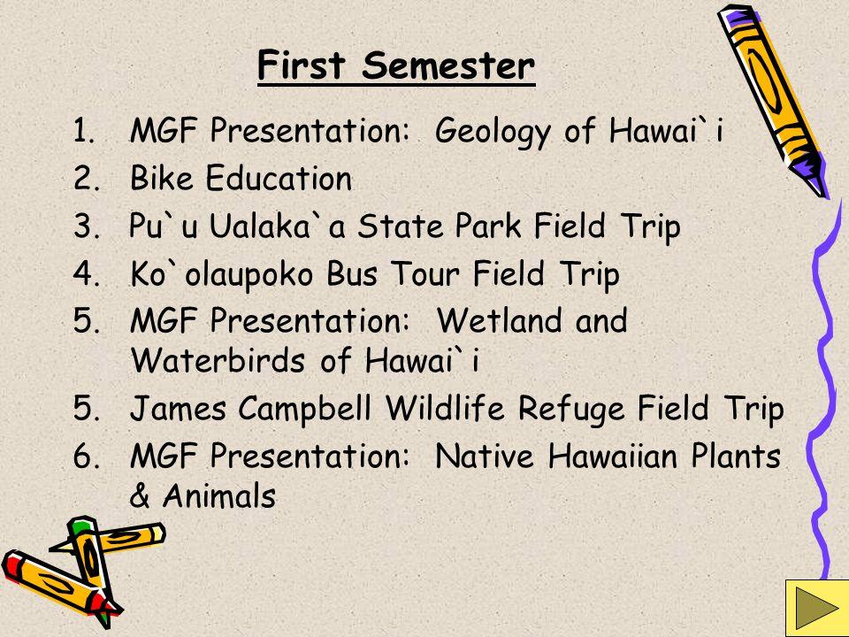 First Semester 1.MGF Presentation: Geology of Hawai`i 2.Bike Education 3.Pu`u Ualaka`a State Park Field Trip 4.Ko`olaupoko Bus Tour Field Trip 5.MGF P