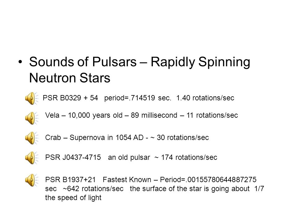 Sounds of Pulsars – Rapidly Spinning Neutron Stars Crab – Supernova in 1054 AD - ~ 30 rotations/sec PSR J an old pulsar ~ 174 rotations/sec PSR B period= sec.